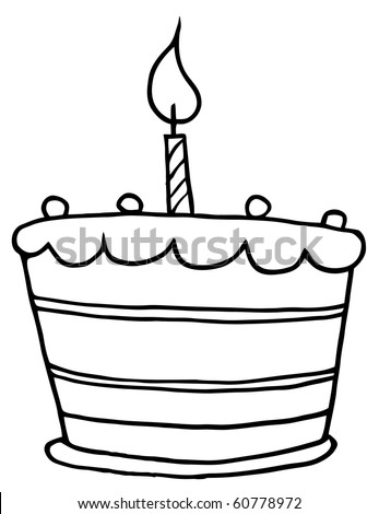 Birthday cake cartoon stock images royalty free images vectors outlined tiered birthday cake with one candle on top sciox Choice Image