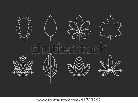 Outlined tree leaves icons - oak, maple, marijuana - stock vector