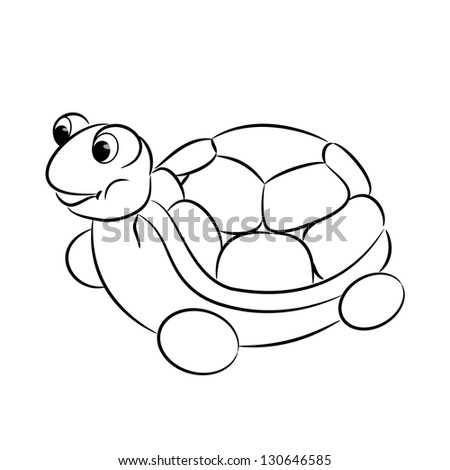 Outlined Turtle Toy Coloring Book Vector Stock Vector 130646585 ...
