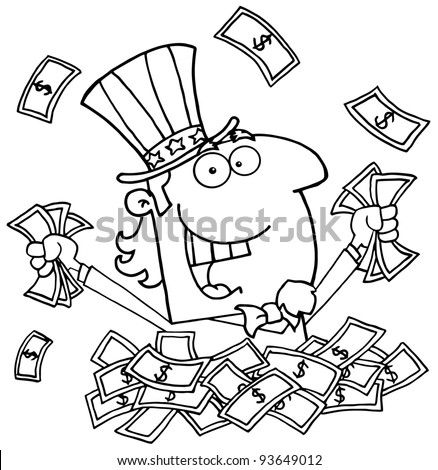 Outlined Uncle Sam Playing In A Pile Of Money - stock vector
