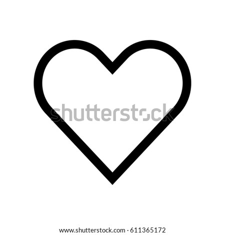 outlined vector heart icon stock vector 611365172 shutterstock rh shutterstock com outlined heart font outlined heart png