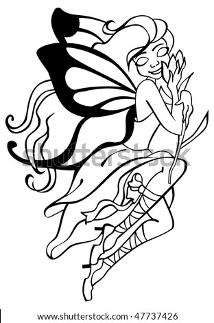 Outlined  vector image of fairy with butterfly wings - stock vector