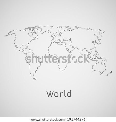 outlined world map - stock vector