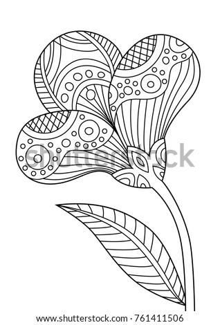 Outlined Zentangle Anti Stress Coloring Page Beautiful Flower Book For Adults And