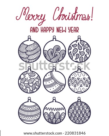 outlines doodle Christmas card. Vector greeting Christmas card with collection of cute Christmas balls - stock vector