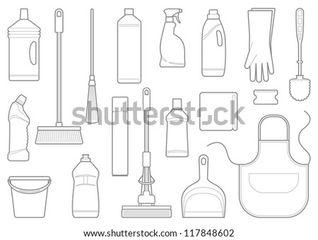Outlines of cleaning equipment vector icons - stock vector