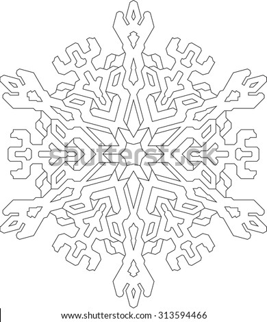 Outlines of snowflake in mono line style for coloring, coloring book. Vector geometric pattern.  - stock vector