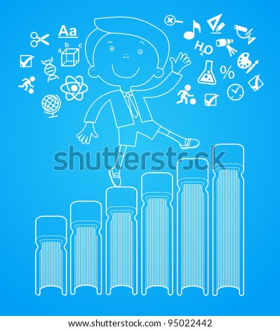 outlines of the figures cheerful child with books.  Concept of learning - stock vector