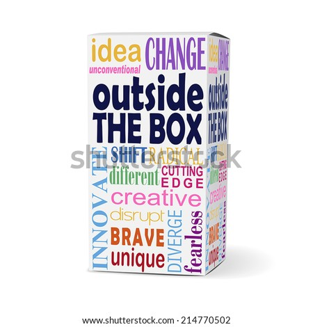 outside the box words on product box with related phrases - stock vector