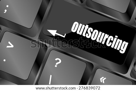 outsourcing button on computer keyboard key vector - stock vector