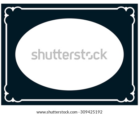 Oval border photo frame deco. Vector simple horizontal line signboard - stock vector
