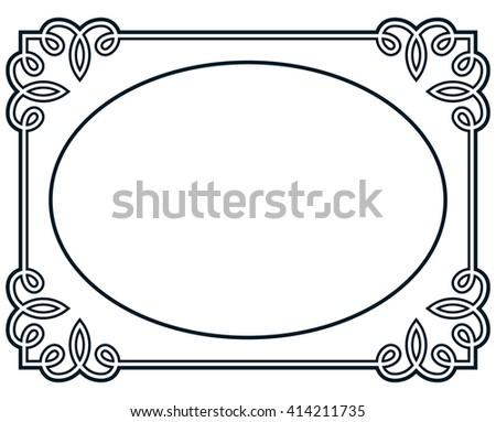 Oval Border Photo Frame Deco Vector Simple Vertical Line Signboard