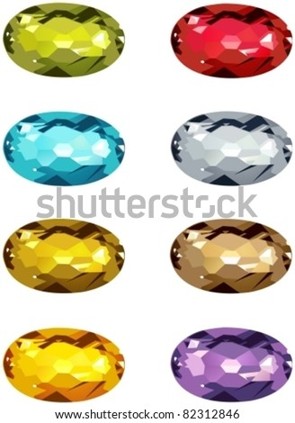 Oval cut jewels.