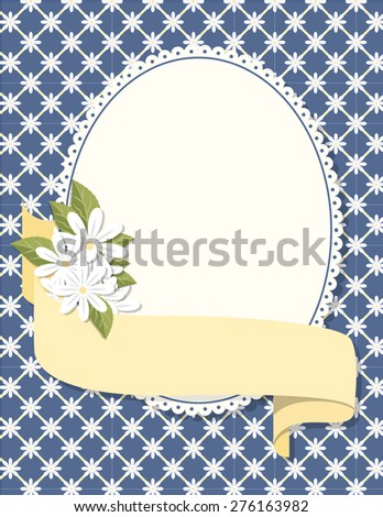 Oval Daisy Badge and Background. Oval daisy badge on a green, yellow, and blue plaid background with a ribbon. Ideal for weddings, invitations, and summer events.