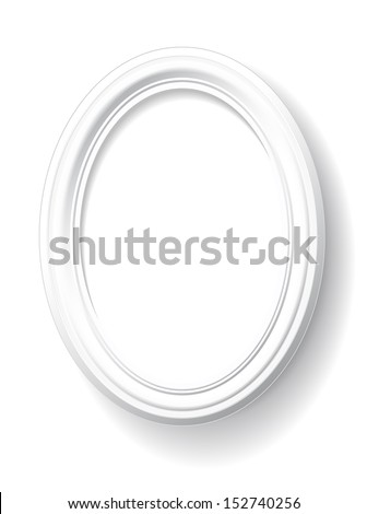 Oval frame is on white background. - stock vector