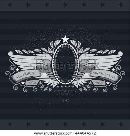 Oval frame with ribbon between horizontal wings. Heraldic vintage label on blackboard - stock vector