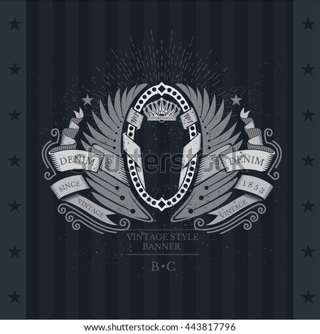 Oval frame wrapped by ribbon between wings. Heraldic vintage label on blackboard - stock vector