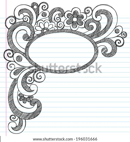 Oval Picture Frame Border Back to School Sketchy Notebook Doodles- Illustration Design Element on Lined Sketchbook Paper Background - stock vector