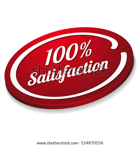Oval red hundred percent satisfaction button - stock vector