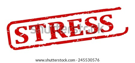 Oval red stamp with the word - stress - illustration - stock vector
