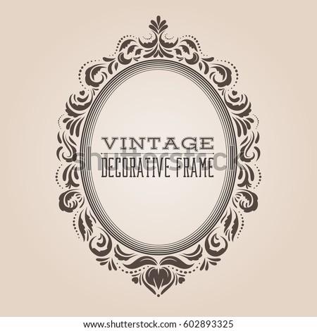 oval vintage ornate border frame retro stock vector