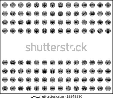 over 100 button icon designs - stock vector