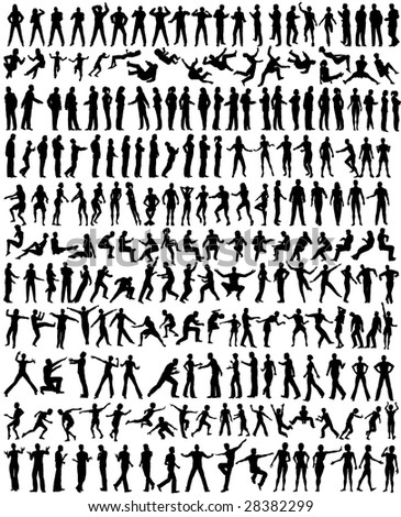 Over 200 detailed editable vector people silhouettes
