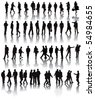 Over fifty black silhouettes with shadow reflexions. People working in the office. Vector illustration. - stock vector