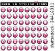 Over 50 Glossy Pink Icons - stock vector