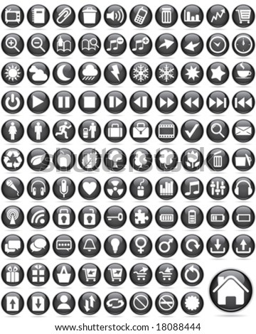 Over one hundred Glossy Icons - stock vector