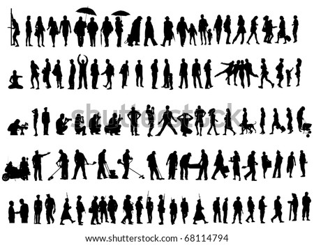 Over one hundred people vector silhouettes over white background. Ladies, gentleman, soldiers, females and workers. - stock vector