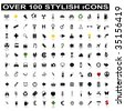 Over 100 Stylish Icons with Shadow Reflections - stock photo