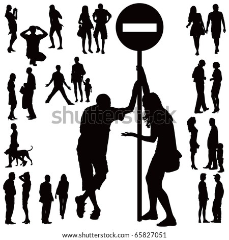 Over ten black silhouettes of young couples over white background. Talking, standing, arguing,walking. - stock vector