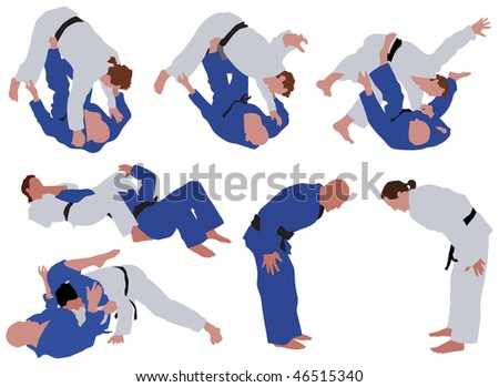 Over ten man silhouettes during judo competition. Vector color illustration. - stock vector