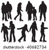 Over ten people silhouettes skating on ice. Vector black and white illustration. - stock vector