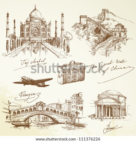 over the world travel - vector illustration - stock vector