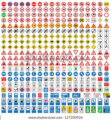Detailed and fully editable vector traffic road sign collection