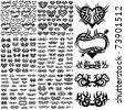 Over 150 tribal tattoos. Set 1-6 - stock vector