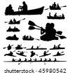 Over twenty peoples vector silhouettes on boats and kayaks. - stock photo