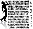 over 200 vector handmade dancing and singing peoples silhouettes - stock vector