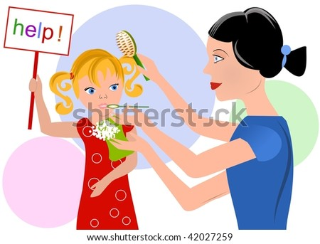 Overcareful mother and her daughter asking for help - stock vector
