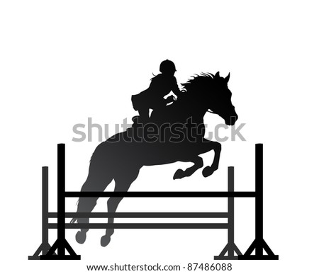 Overcoming of obstacles in horse symbol vector - stock vector