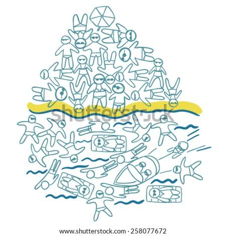 Overcrowded beach vector illustration - stock vector