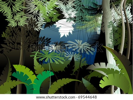 Overgrown plants in the jungle - stock vector
