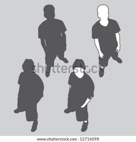 overhead figure silhouette - stock vector