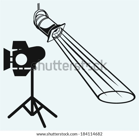 Overhead lights with beam. Studio lighting. Isolated on blue background - stock vector