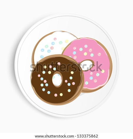 Overhead view of three different delicious doughnuts on a plate with chocolate, pink and white icing and sprinkles, illustration on a white background - stock vector