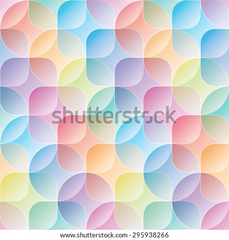 Overlap and transparent circles and squares. Colorful seamless background. Vector EPS10 tileable pattern. - stock vector