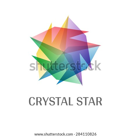 Overlap Transparent Crystal Star Logo Icon Multicolor - stock vector