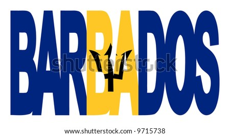 overlapping Barbados text with their flag illustration